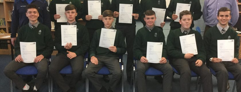 Presentation of certificates to some of our 5th yr students who successfully completed the Sports Leadership Course during TY last year!