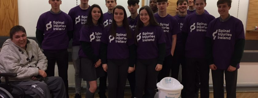 Well done to some of our TY students who were bagpacking for spinal injuries Ireland today.